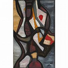 Jean-Michel Atlan (1913-1960). Tarot, 1957. Oil on canvas; signed and dated 57 lower right. 45 5/8 x 28 3/4 in.