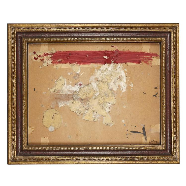 Antoni Tàpies (1923-2012). Carton et matière à la bande rouge, 1969. Mixed media on panel; signed lower right. 25 1/4 x 33 1/2 in.