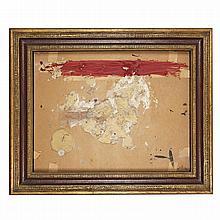 Antoni Tàpies (1923-2012). Carton et matière à la bande rouge, 1969. Mixed media on panel; signed lower right. 25 1/4 x 33 1/2 in.