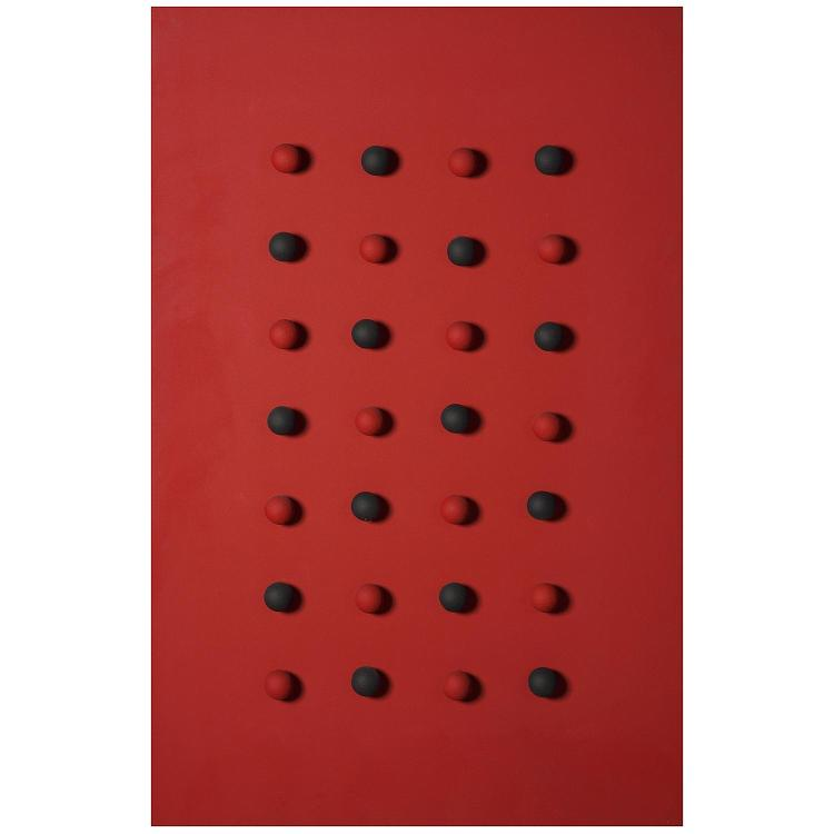 Pol Bury (1922-2005). 28 BOULES ROUGES ET NOIRES SUR UN FOND ROUGE, 2004. Painted wood and electric system; signed, titled and dated on