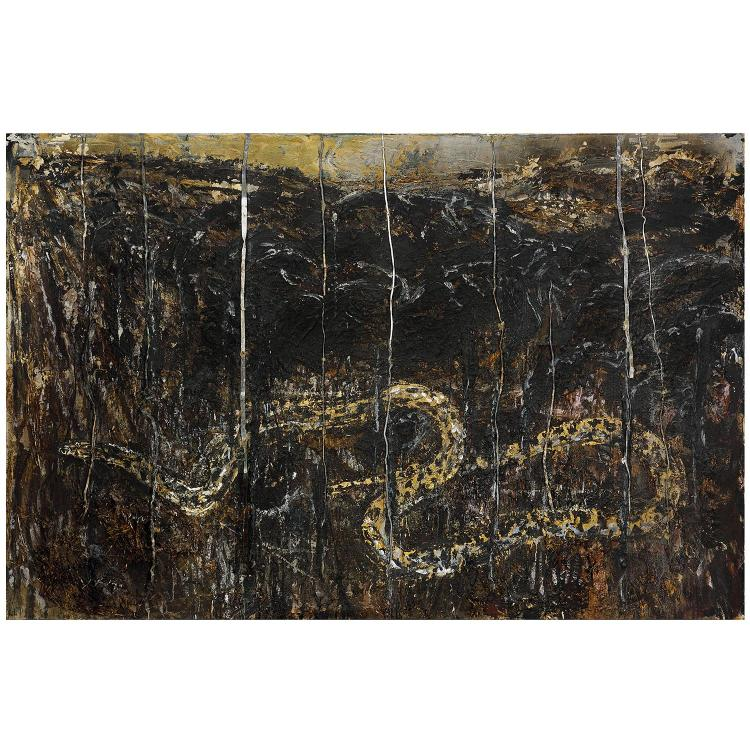 ƒAnselm Kiefer (né en 1945). Die Schlange (The Serpent), 1982-1991. Oil, straw, staples, screws, emulsion and lead on canvas. 74 3/4 x