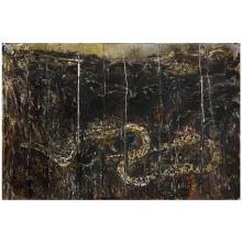 ƒAnselm Kiefer (né en 1945). Die Schlange (The Serpent), 1982-1991. Oil, straw, staples, screws, emulsion and lead on canvas. 74 3/4 x
