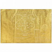 ƒDanh Vo (né en 1975). Forever New Frontiers, 2011. Gold leaf on blue print paper. 27 1/2 x 41 3/8 in.