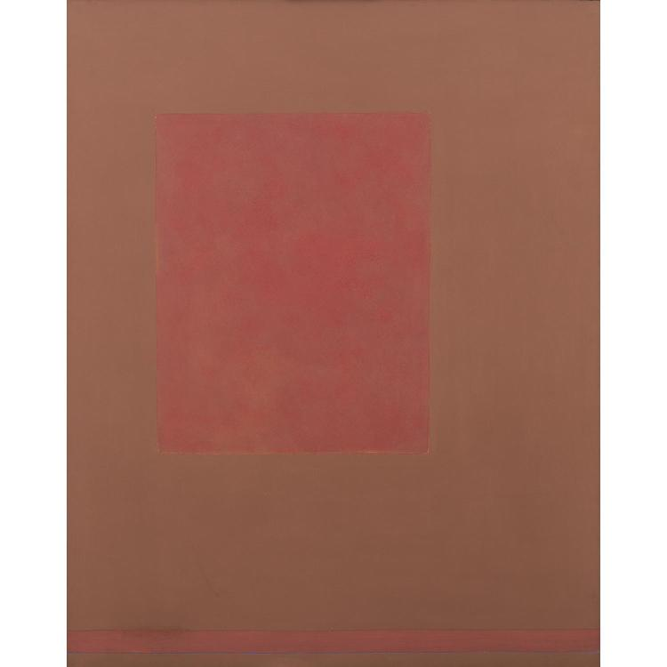 ƒTheodoros Stamos (1922-1997). Pink Sun Box, 1969. Acrylic on canvas; signed, dated and titled on the overlap. 59 x 47 in.