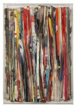 PAVLOS (né en 1930). Affiches massicotées, 1962. Cut paper on canvas, in a plexiglas box; signed, titled and dated on the reverse. 66 1