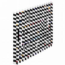 Yaacov AGAM (né en 1928). Sans titre, 2010. Hand-tufted rug, wool, cotton and silk; signed; unique. 236 1/4 x 157 1/2 in.