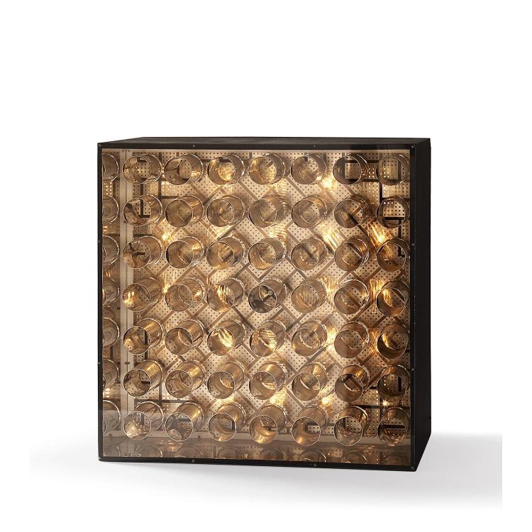 Martha Boto (1925-2004). Optique Lumino Dinamique, 1966. Lighting system, electric motor, aluminum, plexiglas, painted wood box; signed