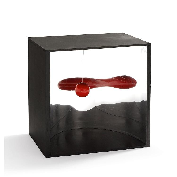 Mariano Carrera (né en 1934). Pendule à déformation active, 1967. Painted wood, nylon and stainless steel; signed, titled and dated on
