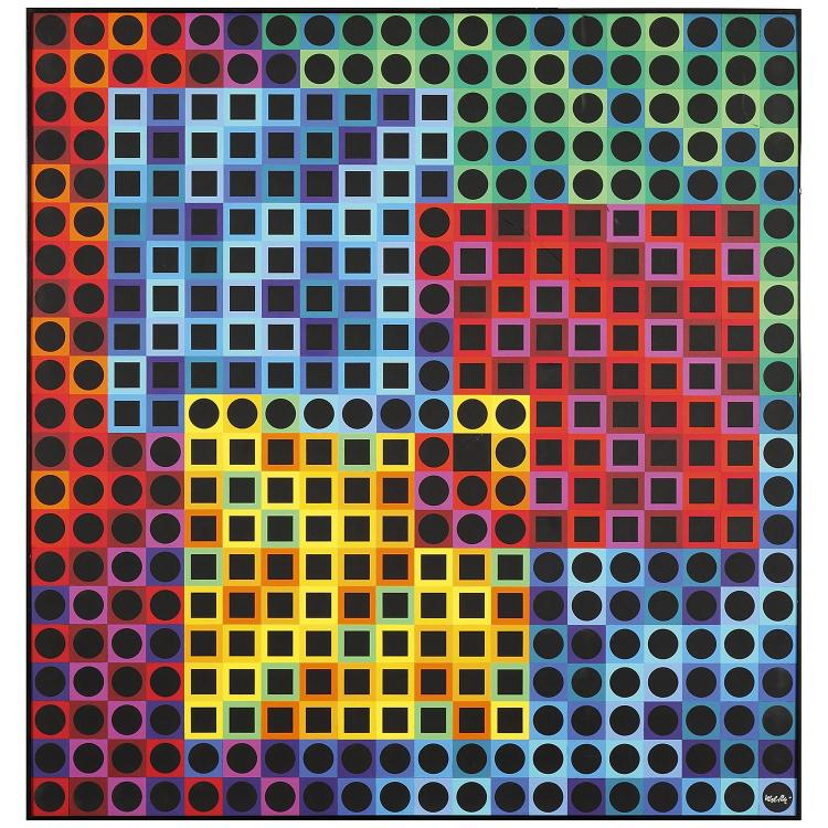 Victor Vasarely (1906-1997). Orion noir, 1970. BASF Polystyrene on panel; signed lower right; signed and numbered 39/100 on a label aff