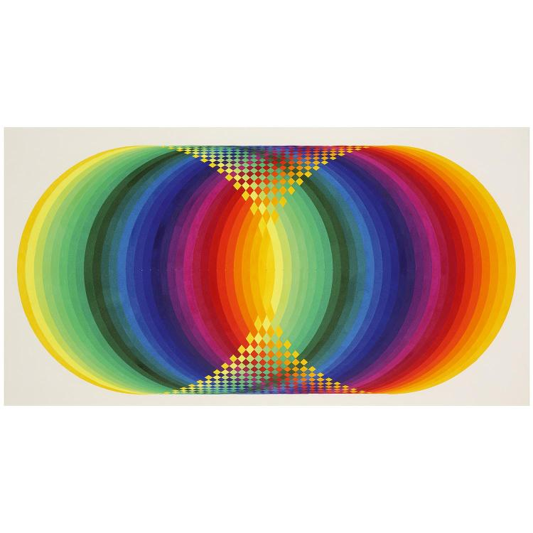 Joel Stein (1926-2012). Cylindre polychrome, 1972. Acrylic on paperboard; signed, titled and dated on the reverse. 19 5/8 x 31 1/2 in.