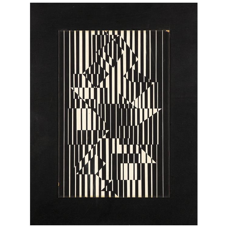 Victor Vasarely (1906-1997). Ilava, 1956. Gouache on cardboard laid on panel; signed, titled and dated on the reverse. 20 7/8 x 15 3/4