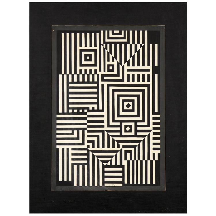 Victor Vasarely (1906-1997). Riu Kiu, 1956. Gouache on cardboard laid on panel; signed lower middle; signed, titled and dated on the re