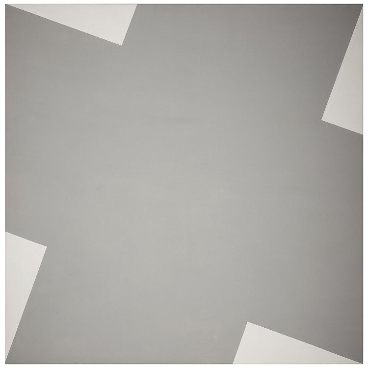 ƒLeon Polk Smith (1906-1996). Cross roads Gray, 1978. Acrylic on canvas; signed, titled and dated on the reverse. 82 1/8 x 82 1/8 in.