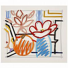 ƒTom Wesselmann (1931-2004). Maquette for still life with orange and tulip doodle (3D), 1987. Liquitex on Bristol Board; signed and dat