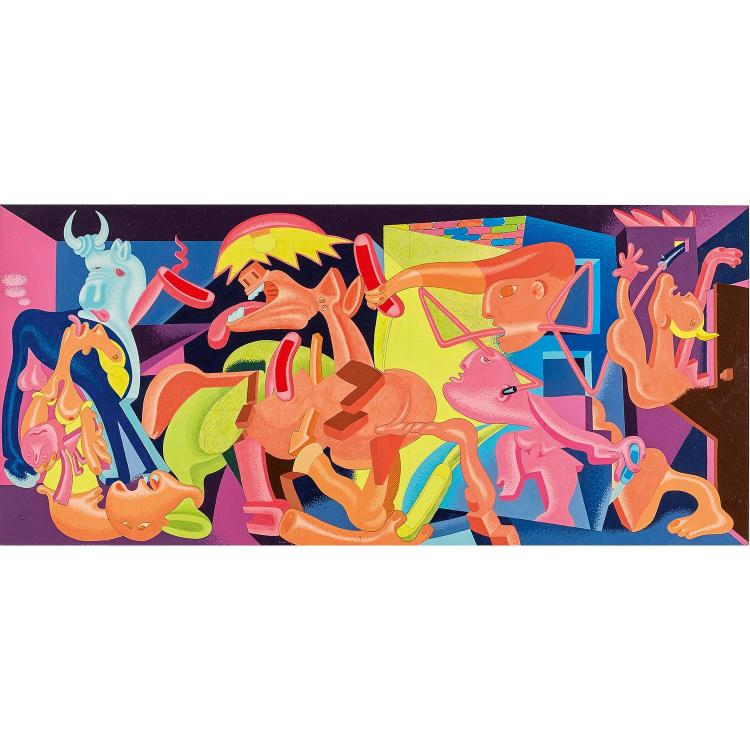 ƒPETER SAUL (né en 1934). GUERNICA (BLUE), 1976. Acrylic, graphite and ink on museum board; signed and dated 76 lower left. 19 7/8 x 44