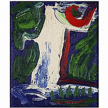Bengt Lindström (1925-2008). L''Homme Cascade, 2000. Oil on canvas; signed lower right; titled and dated on the reverse. 17 7/8 x 15 in.