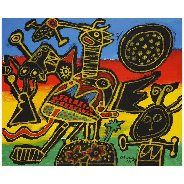 Corneille (1922-2010). Autour du palmier la fête, 1992. Oil on canvas; signed and dated ''92 lower right; signed, titled and dated on th