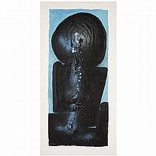 Ladislas Pierre Kijno (1921-2012). Retour de Tahiti (Stèles froissées en hommage à Gauguin), 1989. Acrylic and glycerine spray on paper