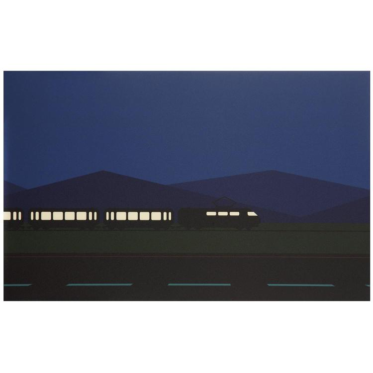 Julian Opie (né en 1958). Roadscape 50, 2001. C-type print on canvas mounted on wood; signed on a label on the reverse. 10 x 15 3/4 in.