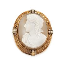 A sardonyx cameo, pearl and gold brooch, circa 1850.