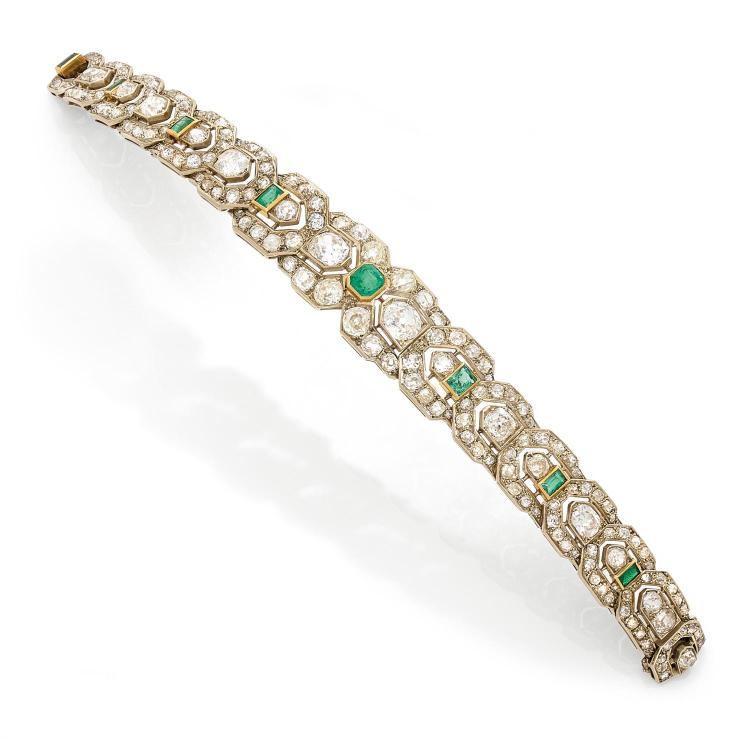 An emerald, diamond and gold bracelet, circa 1880.