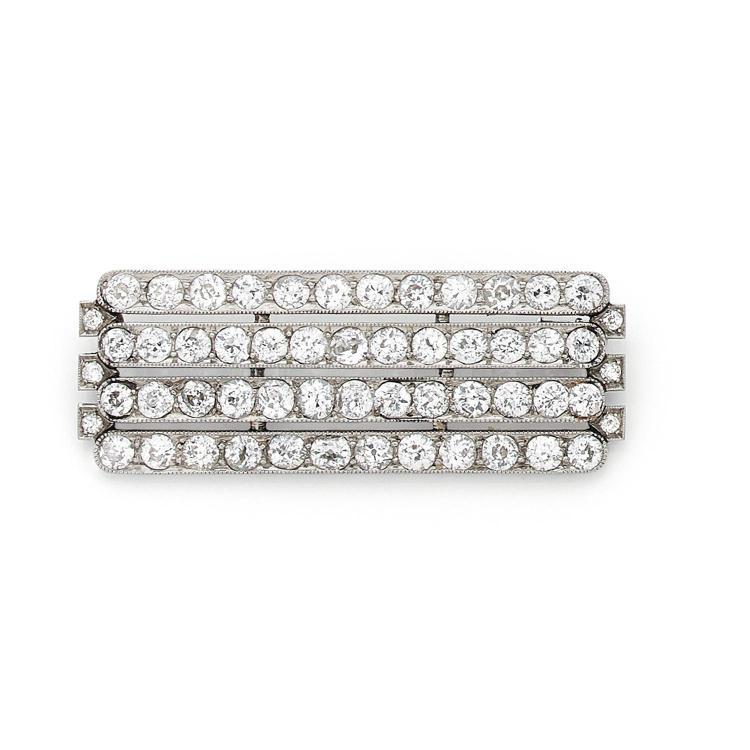 A diamond and platinum brooch, circa 1925.