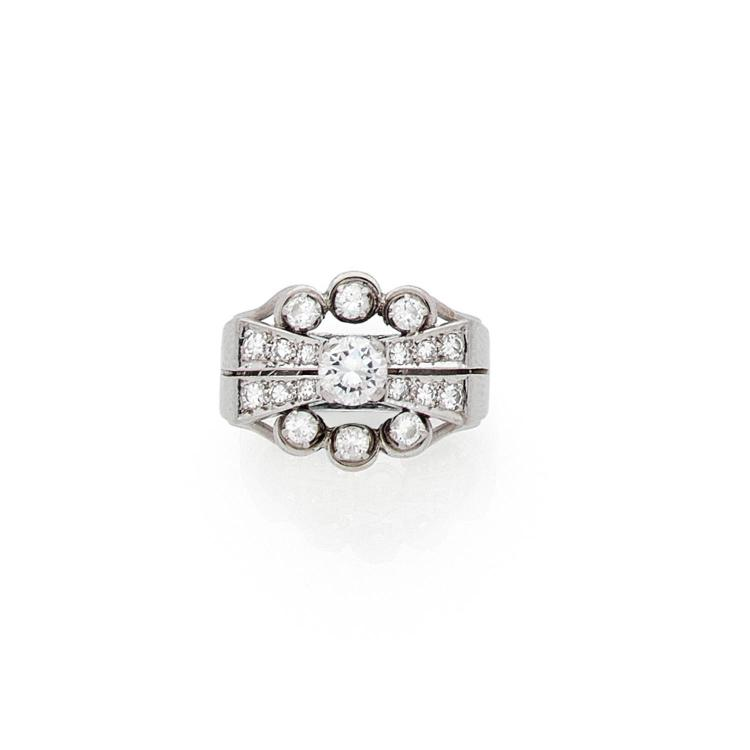 A diamond and platinum ring, circa 1930.