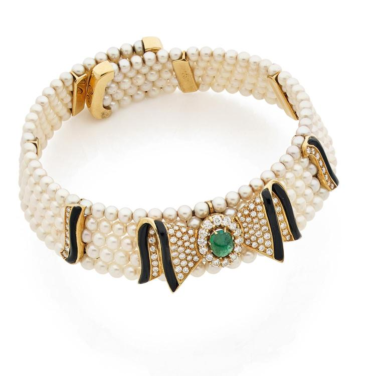 "A diamond, emerald, enamel, gold and cultured pearl ""collier de chien"", circa 1980."