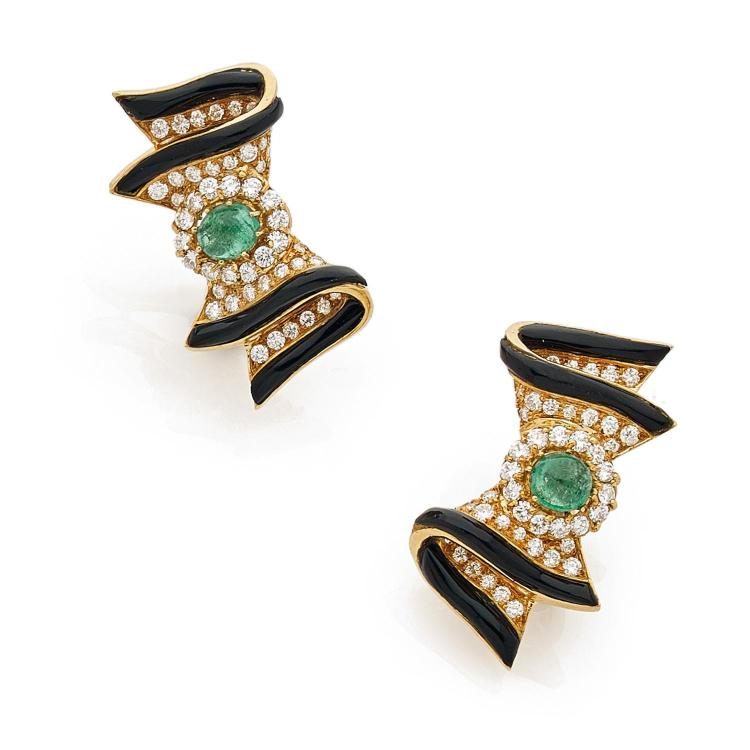 A diamond, emerald, enamel and gold pair of ear clips, circa 1980.