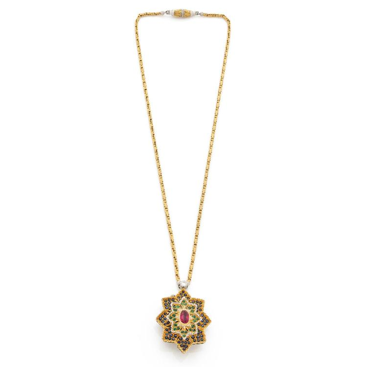 BUCCELLATI A multigem, diamond and gold pendant and chain by BUCCELLATI.