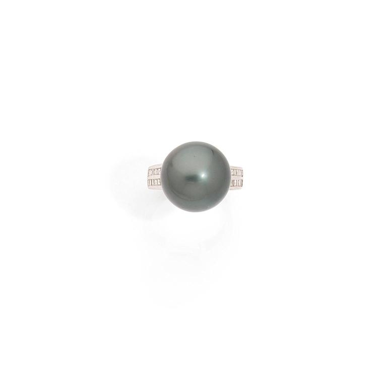 A Tahiti cultured pearl, diamond and gold ring.