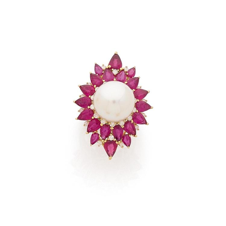 A cultured pearl, ruby, diamond and gold ring.