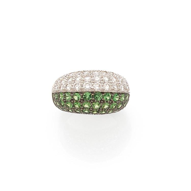 A tsavorite, diamond and gold ring.