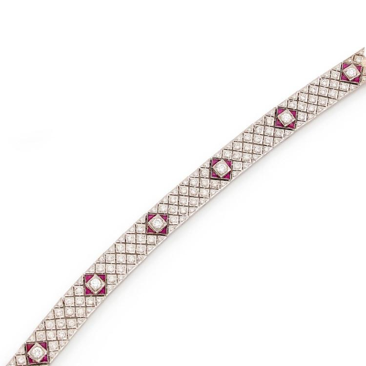 A diamond and ruby bracelet.