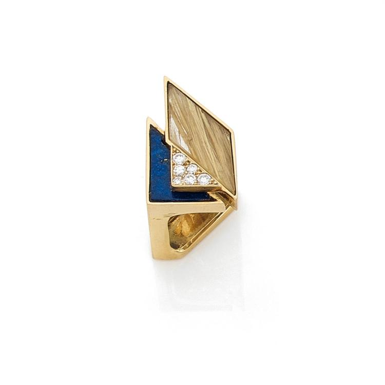 JEAN VENDOME ANNEES 1960 A multigem and gold ring by Jean VENDOME, circa 1960.
