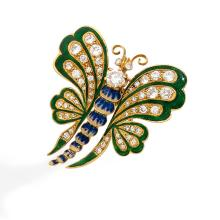 A diamond, enamel and gold brooch, circa 1840.