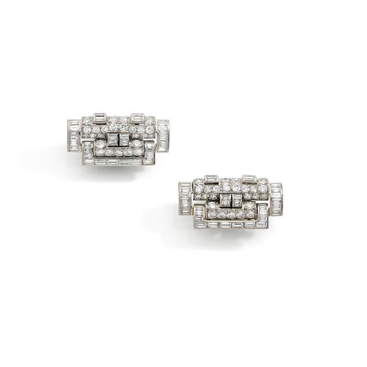 RENE BOIVIN ANNEES 1935  A diamond and platinum pair of clips by RENE BOIVIN, circa 1935.