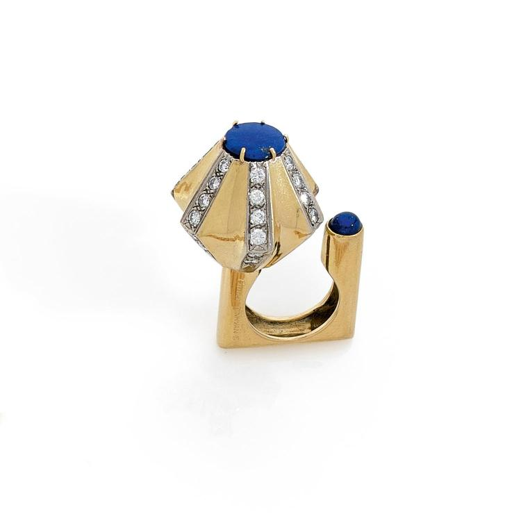 CARTIER - DINH VAN ANNEES 1960 A lapis lazuli, diamond and gold ring by CARTIER - DINH VAN, circa 1960.