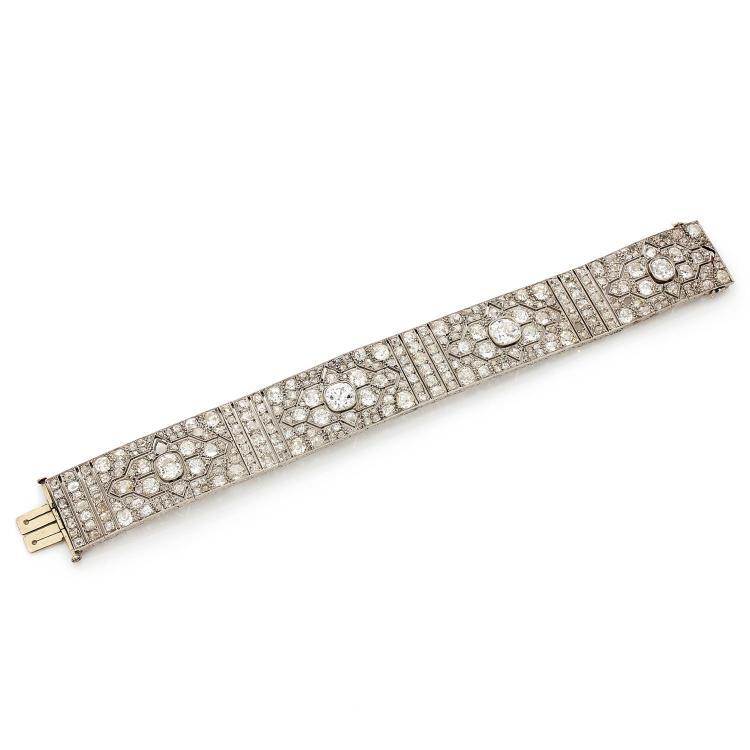 An Art Deco diamond and platinum bracelet.