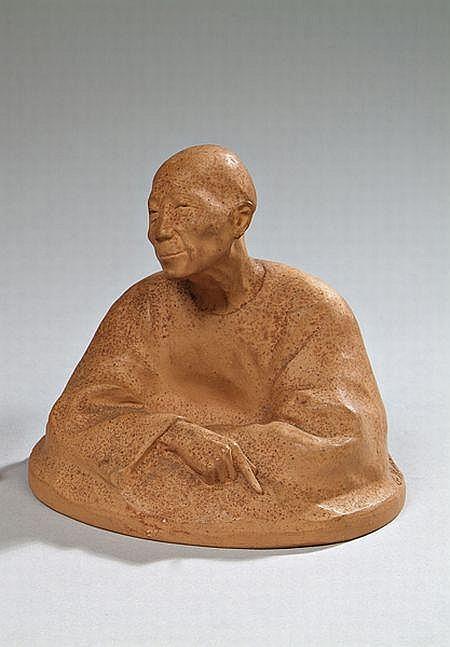 Gaston Hauchecorne « Buste d'Asiate ». Épreuve réalisée en terre cuite. Modèle édité par Susse frères Paris, cachet d'éditeur.