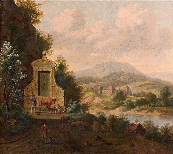Josua de Grave (Amsterdam 1643 - La Haye 1712) Paysans près d'une fontaine dans un paysage fluvial Toile 43 x 48 cm Signée en bas au...