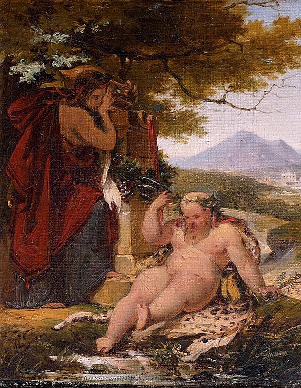 Attribuéà Guillaume Guillondit Lethière (1760 - 1832) L'ivresse de Silène Sur sa toile d'origine 23 x 19 cm