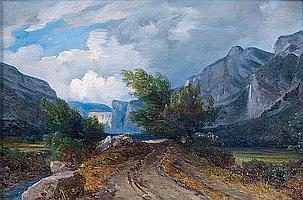 André Giroux (Paris 1801 - 1879) Vue présumée de la vallée du Gresivaudan Papier marouflé sur toile 23 x 34,5 cm Au revers du châssi...