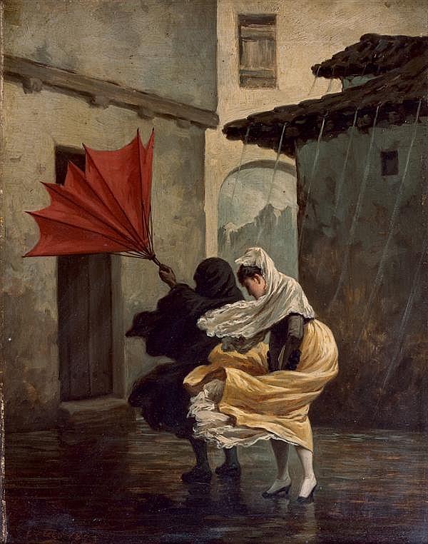 Francisco Ravier Ortego y Vereda (Madrid 1833 - Paris 1881) Le coup de vent Panneau d'acajou 34,5 x 26,5 cm Signé et daté en bas à ...