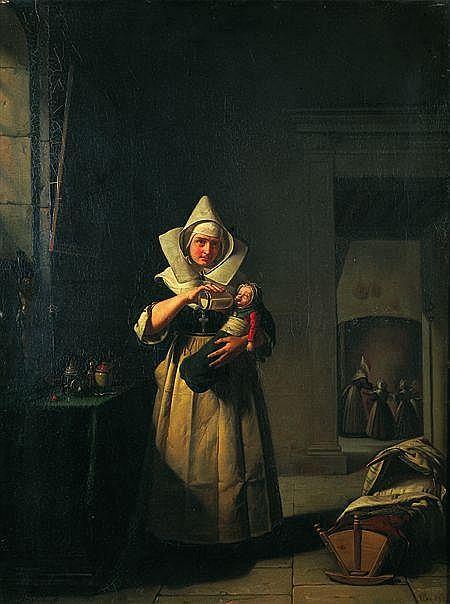 Michel Philibert GENOD (Lyon 1795 - 1862) La mère hospitalière Sur sa toile d'origine 75 x 56 cm Signée, localisée et datée ...