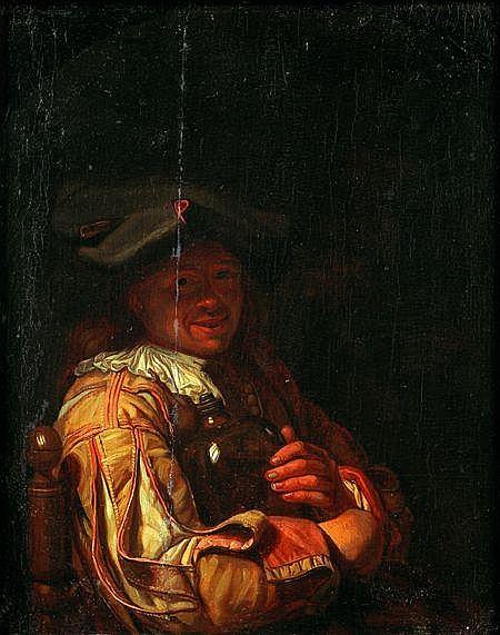 Frans van MIERIS (leyde 1689 - 1763) portrait d'homme tenant un flacon Panneau de chêne, parqueté 32 x 19 cm Restaurations