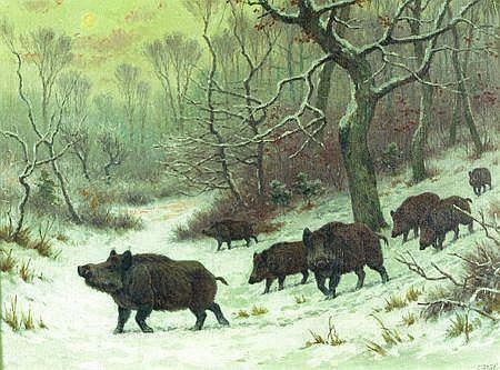 Georges Frédéric RÖTIG (Le Havre 1873 - 1961) Une horde de sanglier dans une clairière en forêt Sur sa toile d'origine 45 x 60...