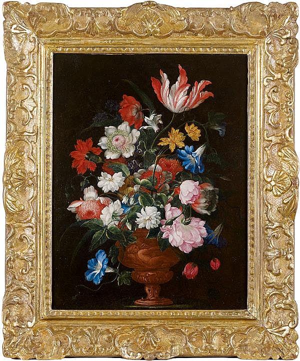 Attribué à Bartolomeo PEREZ (1634 - 1693) Bouquet de fleurs dans un vase Toile 46,5 x 36 cm Restaurations anciennes