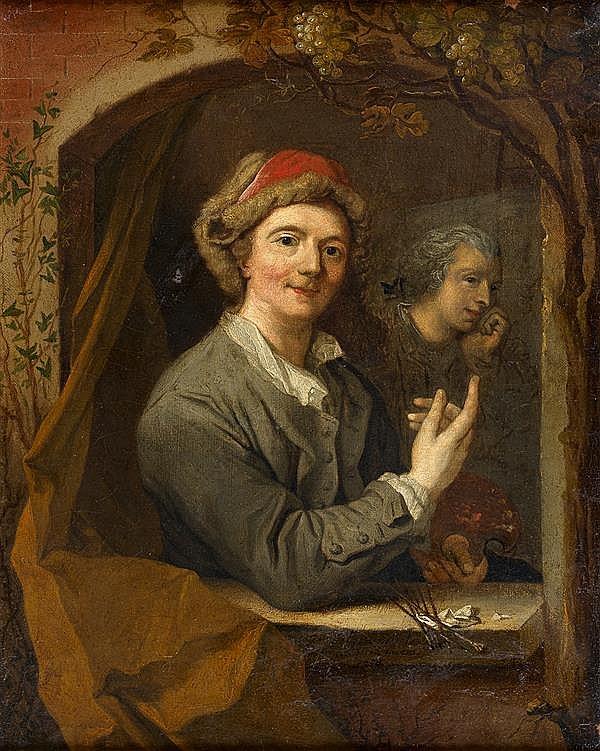 Jacques François DESLYENS (Gand 1684 - paris 1761) Autoportrait au chevalet dans une fenêtre Toile 47 x 38 cm Signée, localisée et ...