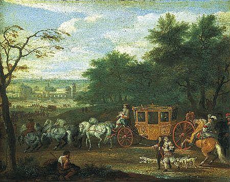 Jan VAN HUCHTENBURG (Haarlem 1647 - Amsterdam 1733) Louis XIV arrivant au château, probablement de vincennes Panneau de chêne, u...